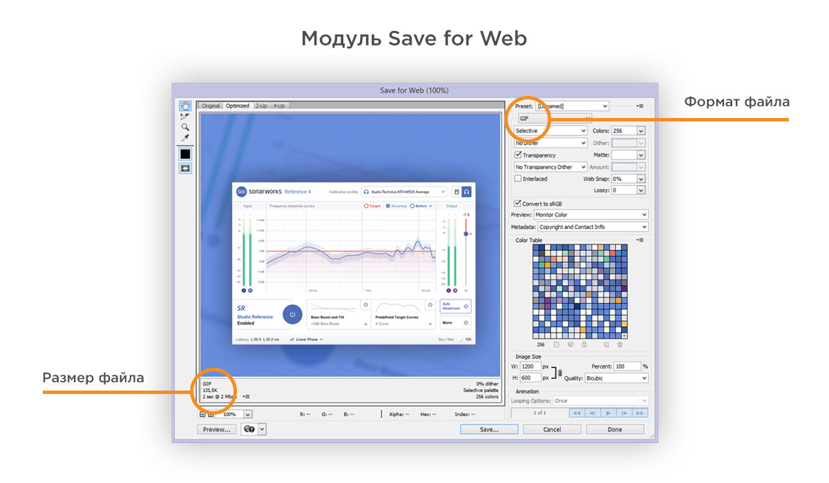Модуль Save for Web в Photoshop